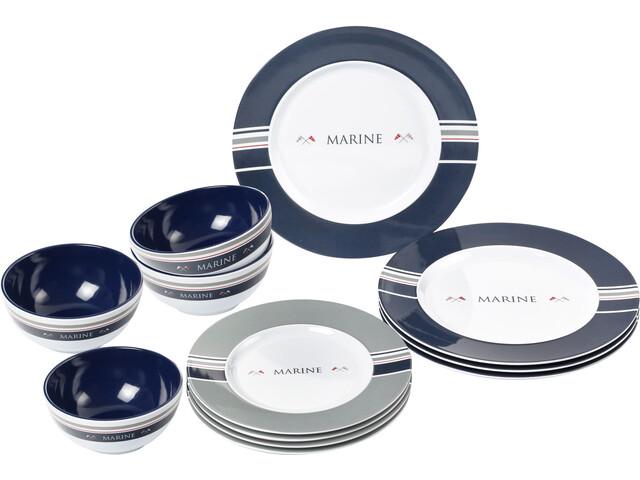 Brunner Midday Set de platos, azul/blanco